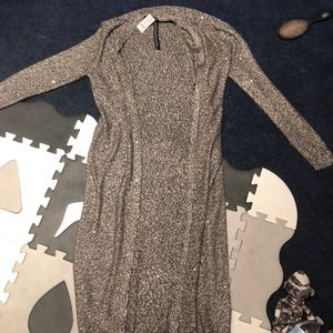 Long open front sparkly cardigan
